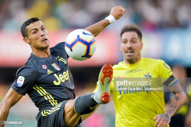 Juventus player Cristiano Ronaldo during the serie A match between Chievo Verona and Juventus at Stadio Marc'Antonio Bentegodi on August 18 2018 in...