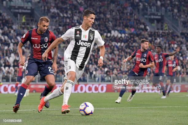 Juventus player Cristiano Ronaldo during the serie A match between Juventus and Bologna FC on September 26 2018 in Turin Italy