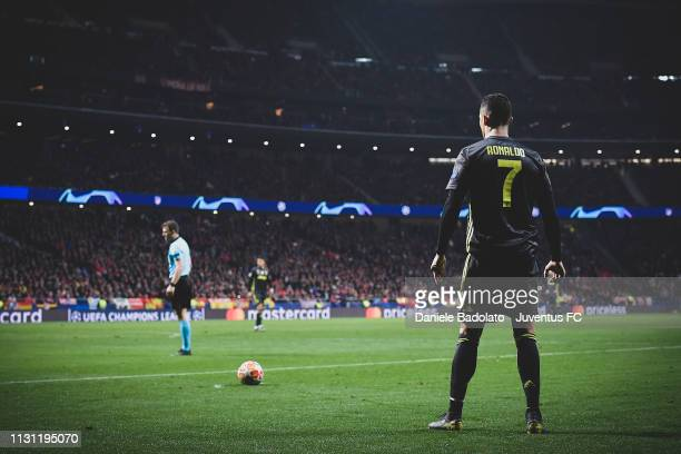 Juventus player Cristiano Ronaldo during the UEFA Champions League Round of 16 First Leg match between Club Atletico de Madrid and Juventus at...