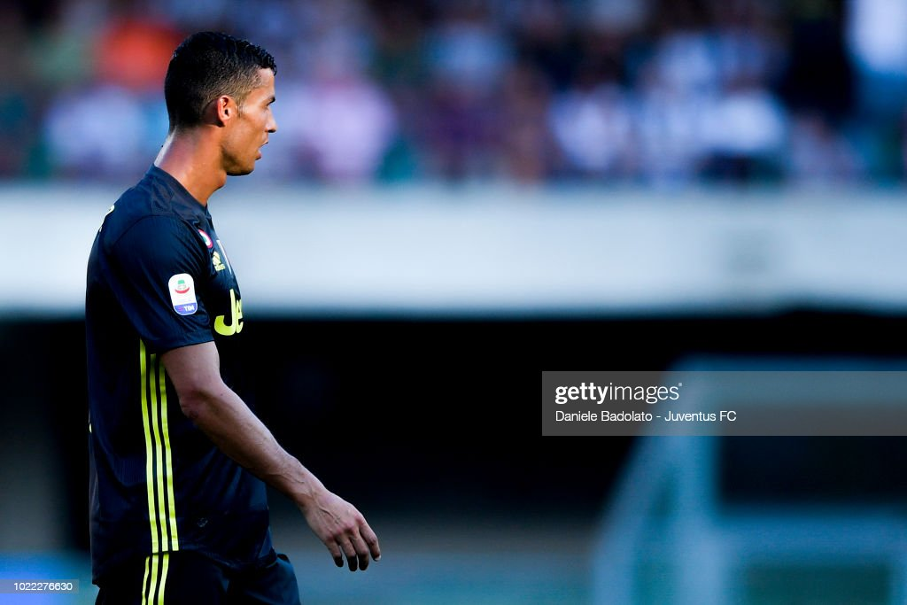 Juventus player Cristiano Ronaldo in action during the serie A match between Chievo Verona and Juventus at Stadio Marc'Antonio Bentegodi on August 18, 2018 in Verona, Italy.