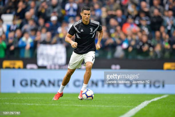 Juventus player Cristiano Ronaldo in action during the warm up before the Serie A match between Udinese and Juventus at Stadio Friuli on October 6...