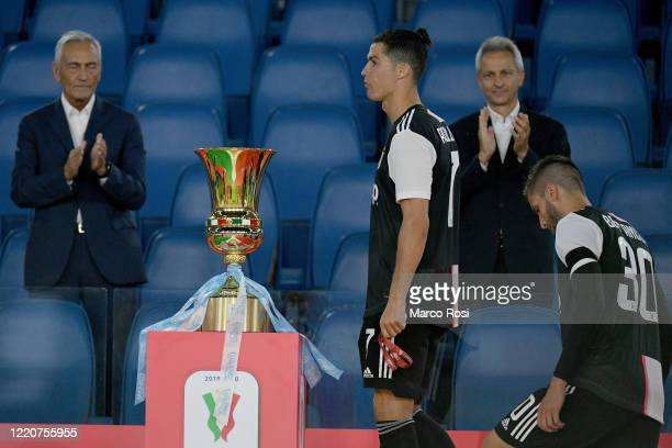 Juventus' player Cristiano Ronaldo passing near the trophy disappointed after the Coppa Italia Final match between Juventus and SSC Napoli winner at...