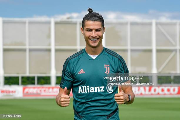 Juventus player Cristiano Ronaldo poses for a photo during a training session at JTC on May 19 2020 in Turin Italy