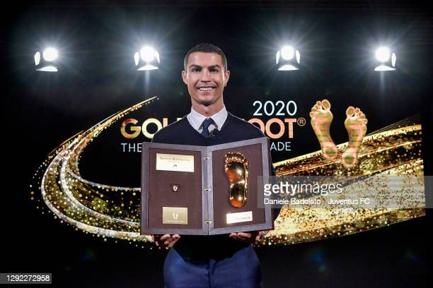 Juventus player Cristiano Ronaldo receives the Golden Foot Award on December 20, 2020 in Turin, Italy.