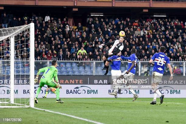 Juventus player Cristiano Ronaldo scores 0-2 goal during the Serie A match between UC Sampdoria and Juventus at Stadio Luigi Ferraris on December 18,...