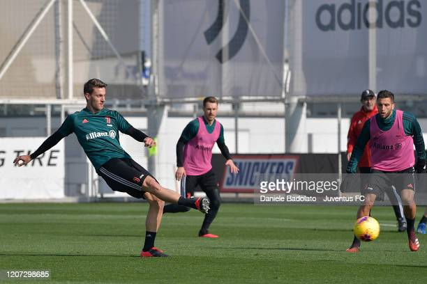 Juventus player Daniele Rugani kicks the ball during a training session at JTC on February 19 2020 in Turin Italy