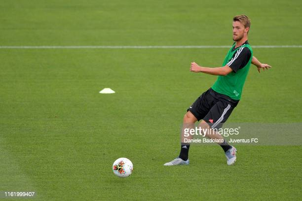 Juventus player Daniele Rugani kicks the ball during the training session at Jtc on July 14 2019 in Turin Italy