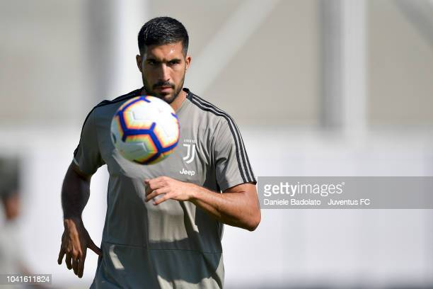 Juventus player Emre Can looks at the ball during a training session at JTC on September 27 2018 in Turin Italy