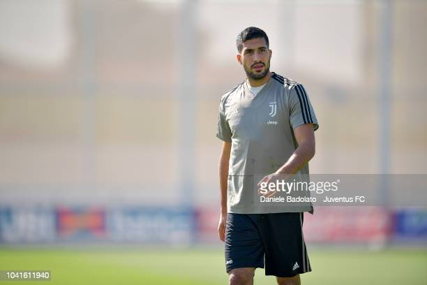 Juventus player Emre Can looks on during a training session at JTC on September 27 2018 in Turin Italy