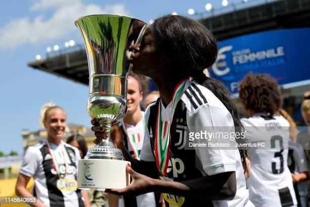 Juventus player Eniola Aluko celebrates with the trophy the Women Coppa Italia Final match between Juventus Women and ACF Fiorentina Stadio Ennio...