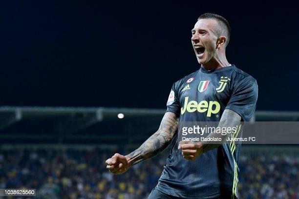 Juventus player Federico Bernardeschi celebrates after scoring a goal to make it 02 during the serie A match between Frosinone Calcio and Juventus at...