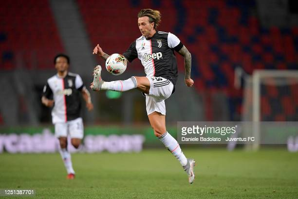 Juventus player Federico Bernardeschi controls the ball during the Serie A match between Bologna FC and Juventus at Stadio Renato Dall'Ara on June...