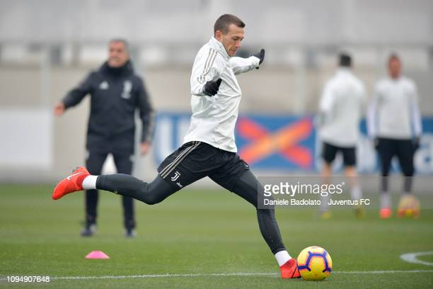 Juventus player Federico Bernardeschi during a training session at JTC on February 7 2019 in Turin Italy