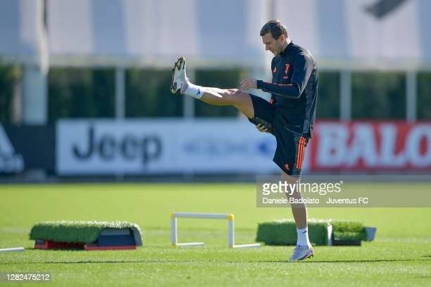 Juventus player Federico Bernardeschi during the UEFA Champions League training session at JTC on October 27 2020 in Turin Italy