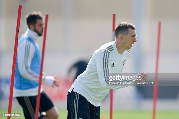 Juventus player Federico Bernardeschi looks on during a training session at JTC on March 28 2019 in Turin Italy