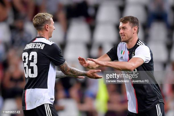Juventus player Federico Bernardeschi substituted by Aaron Ramsey during Triestina v Juventus pre season friendly match at Stadio Nereo Rocco on...