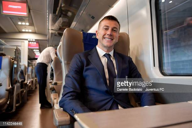 Juventus player Federico Bernardeschi travelling by train to Ferrara on April 12 2019 in Ferrara Italy