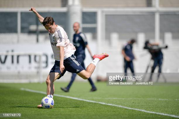 Juventus player Federico Chiesa during a training session at JTC on May 07, 2021 in Turin, Italy.