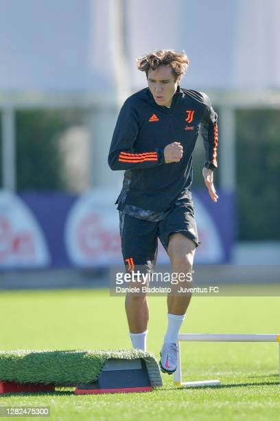 Juventus player Federico Chiesa during the UEFA Champions League training session at JTC on October 27 2020 in Turin Italy