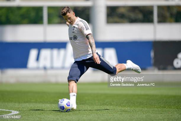 Juventus player Giacomo Vrioni during a training session at JTC on May 07, 2021 in Turin, Italy.