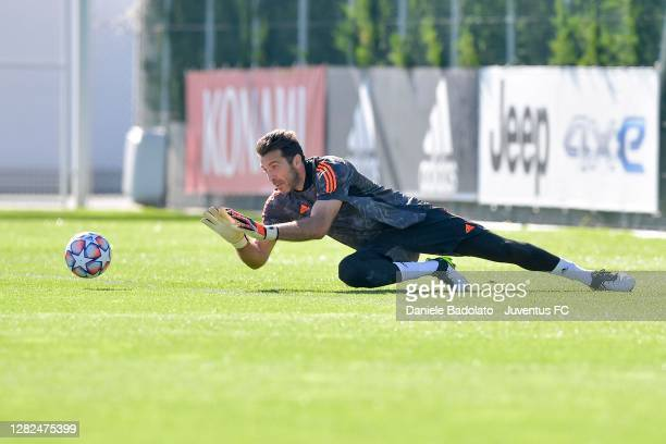 Juventus player Gianluigi Buffon during the UEFA Champions League training session at JTC on October 27 2020 in Turin Italy