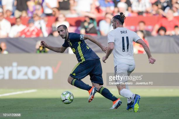 Juventus player Giorgio Chiellini and Real Madrid player Gareth Bale during the Real Madrid v Juventus International Champions Cup 2018 match at...
