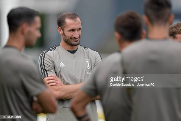 Juventus player Giorgio Chiellini during a Juventus training session at JTC on August 8 2018 in Turin Italy
