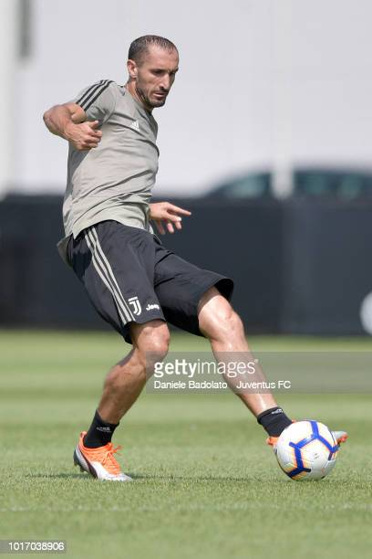 Juventus player Giorgio Chiellini during a Juventus training session at JTC on August 15 2018 in Turin Italy