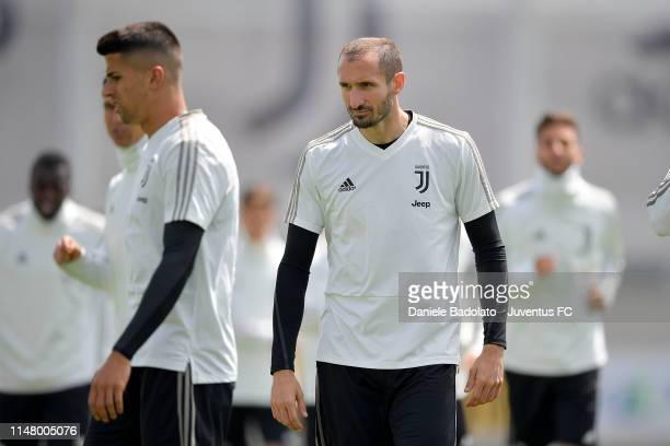 Juventus player Giorgio Chiellini during a training session at JTC on May 09 2019 in Turin Italy
