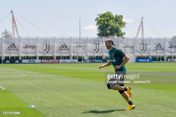 Juventus player Giorgio Chiellini during a training session at JTC on May 25 2020 in Turin Italy