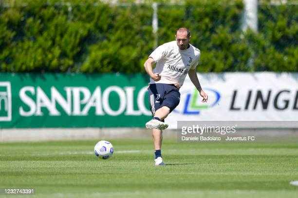 Juventus player Giorgio Chiellini during a training session at JTC on May 07, 2021 in Turin, Italy.