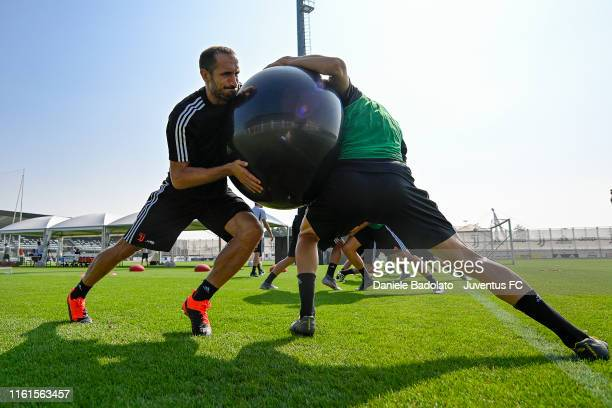 Juventus player Giorgio Chiellini during the morning training session at JTC on July 12, 2019 in Turin, Italy.