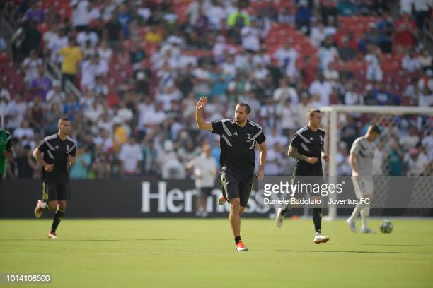Juventus player Giorgio Chiellini during the Real Madrid v Juventus International Champions Cup 2018 match at FedExField on August 4 2018 in Landover...