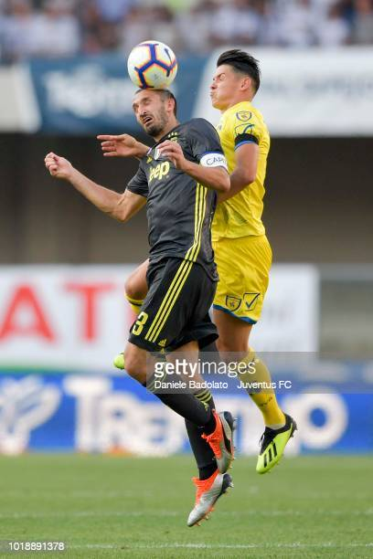Juventus player Giorgio Chiellini during the serie A match between Chievo Verona and Juventus at Stadio Marc'Antonio Bentegodi on August 18 2018 in...