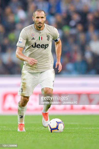 Juventus player Giorgio Chiellini in action during the Serie A match between Udinese and Juventus at Stadio Friuli on October 6 2018 in Udine Italy