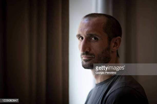 Juventus player Giorgio Chiellini poses during a portrait session on May 15, 2020 in Turin, Italy.