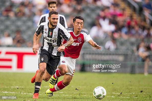 Juventus' player Grigoris Kastanos contests the ball during the South China vs Juventus match of the AET International Challenge Cup on 30 July 2016...