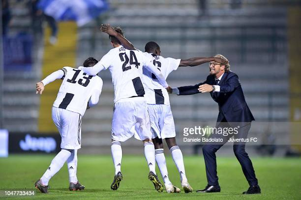Juventus player Idrissa Toure celebrates 10 goal at Stadio Giuseppe Moccagatta on October 8 2018 in Alessandria Italy