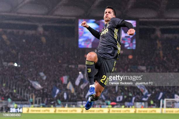 Juventus player Joao Cancelo celebrates 11 goal during the Serie A match between SS Lazio and Juventus at Stadio Olimpico on January 27 2019 in Rome...