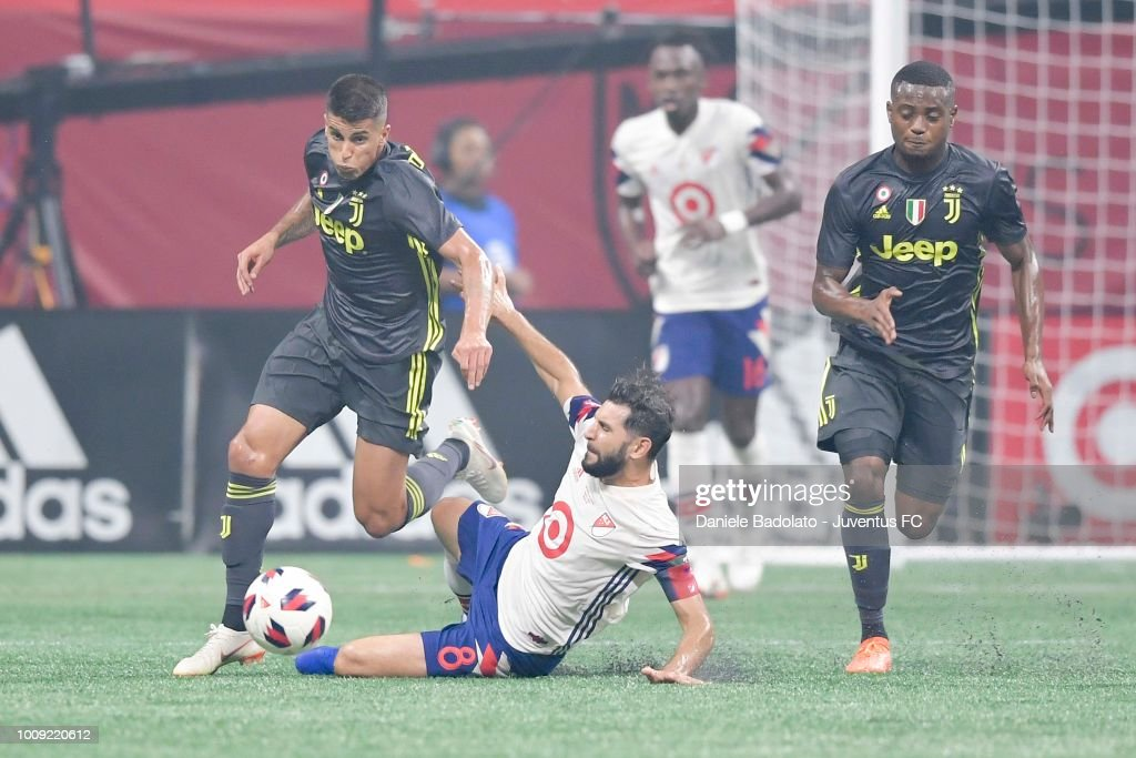 Juventus player Joao Cancelo in action during the 2018 MLS All-Star Game: Juventus v MLS All-Stars at Mercedes-Benz Stadium on August 1, 2018 in Atlanta, Georgia.