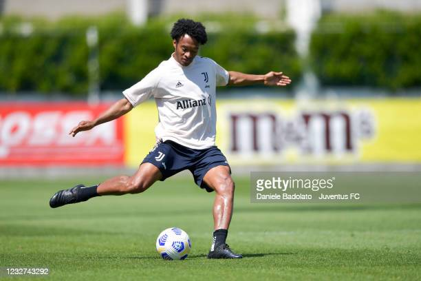Juventus player Juan Cuadrado during a training session at JTC on May 07, 2021 in Turin, Italy.