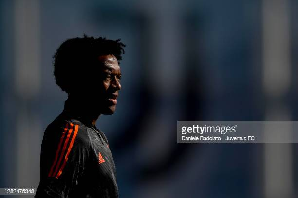 Juventus player Juan Cuadrado during the UEFA Champions League training session at JTC on October 27 2020 in Turin Italy