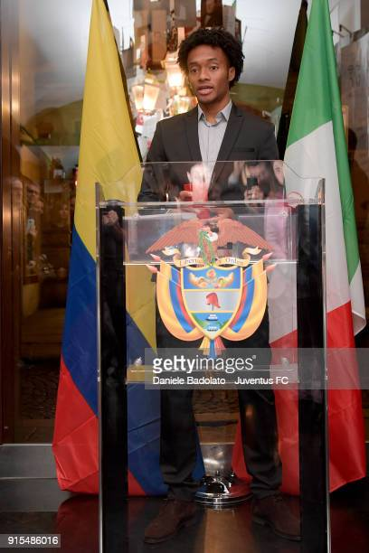 Juventus player Juan Cuadrado recevies An Award From The Colombian Ambassador on February 7 2018 in Turin Italy