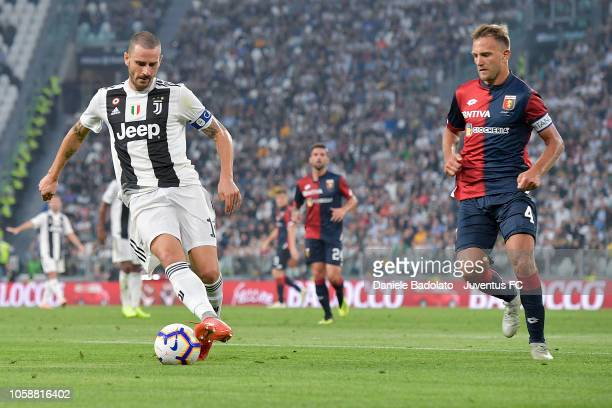 Juventus player Leonardo Bonucci and Genoa player Domenico Criscito during the Serie A match between Juventus and Genoa CFC at Allianz Stadium on...