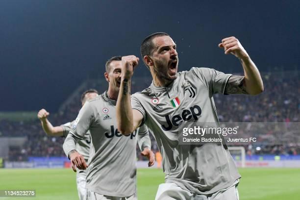 Juventus player Leonardo Bonucci celebrates 01 goal during the Serie A match between Cagliari and Juventus at Sardegna Arena on April 3 2019 in...
