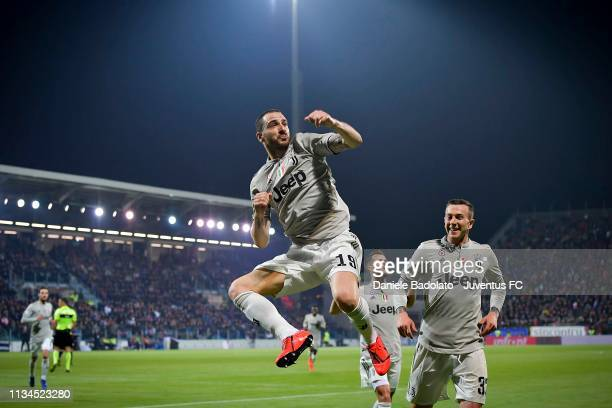 Juventus player Leonardo Bonucci celebrates 01 goal during the Serie A match between Cagliari and Juventus at Sardegna Arena on April 3 2019 in...
