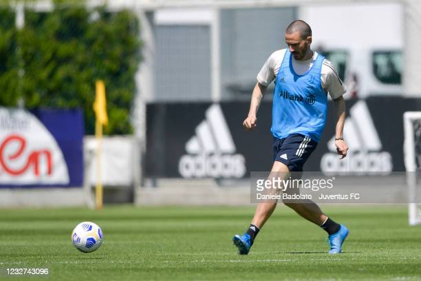 Juventus player Leonardo Bonucci during a training session at JTC on May 07, 2021 in Turin, Italy.