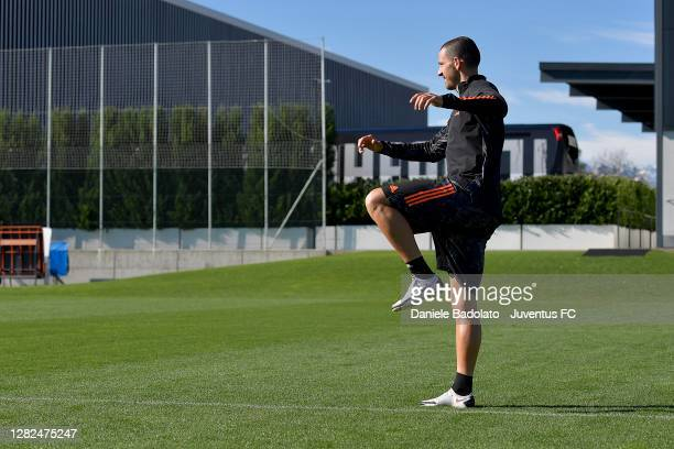 Juventus player Leonardo Bonucci during the UEFA Champions League training session at JTC on October 27 2020 in Turin Italy
