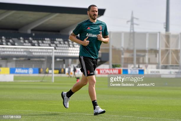 Juventus player Leonardo Bonucci runs during a training session at JTC on May 27 2020 in Turin Italy