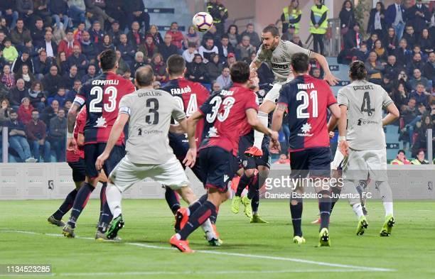 Juventus player Leonardo Bonucci scores 0-1 goal during the Serie A match between Cagliari and Juventus at Sardegna Arena on April 3, 2019 in...
